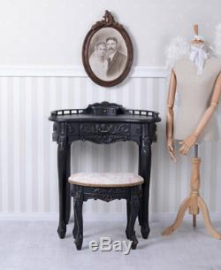 SECRETARY BLACK DESK WITH STOOL Console Table Antique Style