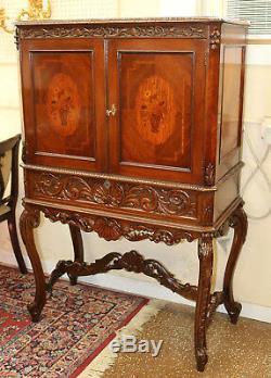 Satinwood Inlaid Walnut French Secretary Desk China Cabinet Liquor Bar C1920