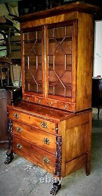 Secretary DESK bookcase, New York, carved Federal, c1820, paw ft, acanthus, 78t