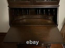 Secretary Desk Chippendale Bookcase Mahogany Wood Ball & Claw Feet