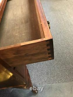 Secretary Desk Walnut 3 Drawers 42 high 30 wide leather lined writing surface
