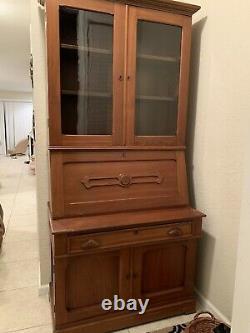 Secretary Drop Front Desk With Glass Door Book Case 1865-1870s