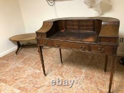 Secretary Style Work Desk with Leather Top probably Walnut or Oak
