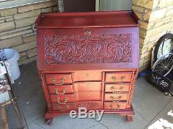 Slant Front Secretary Desk Mahogany Hand Carvings George C. Flint Furniture Co