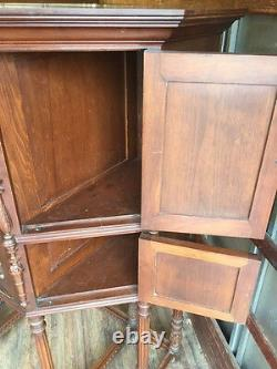 Small Hand Carved Mahogany Doors Antique Desk with Hidden Stash Space