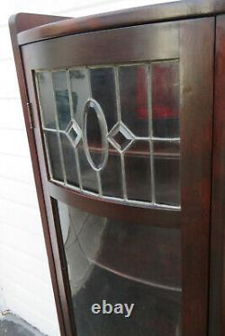 Solid Cherry Side by Side Bookcase Display Cabinet with Secretary Desk 1329