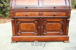 Spectacular Heavily Burled Large Walnut Victorian Cylinder Roll Secretary Desk
