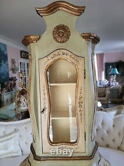 Stunning Antique Decorated Italian Venetian Secretary Desk Drawers Glass Doors