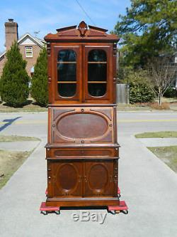 Sweet Walnut Victorian Drop Front Secretary with Bookcase Top circa 1865