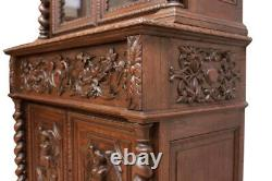 Tall Antique French Hunt Bookcase, Desk, Secretary, Oak, 19th Century