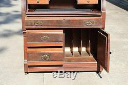 Tall Burl Walnut Victorian Cylinder Roll Secretary Desk Bookcase w Floral Crown