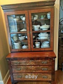 Tall Slim Elegant Antique English Secretary Desk Buffet Cupboard Bookcase