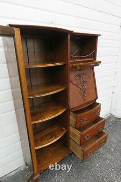 Tiger Oak Side by Side Bookcase Display Cabinet with Secretary Desk 1453