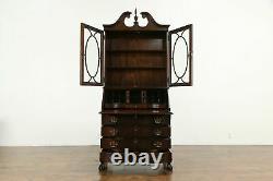 Traditional Georgian Vintage Mahogany Secretary Desk & Bookcase Jasper #34670