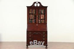 Traditional Vintage Secretary Desk, Secret Compartments, Bookcase, Signed #29754