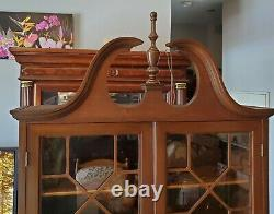 VINTAGE WALNUT 1950's SECRETARY DESK, DROP FRONT & GLASS CABINET, 3 DRAWERS, 80h