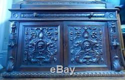 Victorian 1800s Figural Carved Walnut Secretary Desk 91H x 45 W 24D