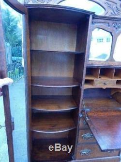 Victorian Medium Oak Secretary Side By Side Desk 71 3/4 Height