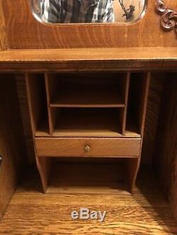 Victorian Oak Antique 1900 Side by Side Secretary Desk & Glass Bookcase Nice