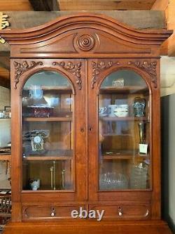 Victorian Slant Front Secretary Desk with Bookcase Top, circa 1860s