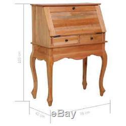 VidaXL Solid Mahogany Wood Secretary Desk Drawers 30.7 Office Workstation