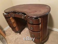 Vintage Antique Kidney Bean Secretary Desk