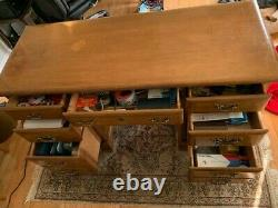 Vintage Antique Mid-Century All Wood Heavy Duty Seven Drawer Writing Desk