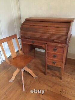 Vintage Antique Roll Top Desk Secretary and Chair
