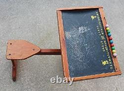 Vintage Child's Wooden Flap School Desk Storage Abacus