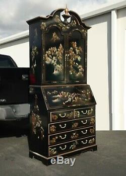 Vintage Chinese Asian Black Lacquer Chinoiserie Secretary Desk Hutch Hand Paint