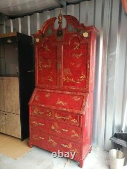 Vintage Chinese Red Lacquer Chinoiserie Secretary Desk Hutch Hand Painted