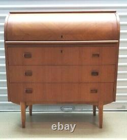 Vintage Danish MID CENTURY MODERN Teak ROLL TOP SECRETARY Desk Egon Ostergaard