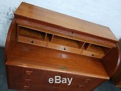 Vintage Denmark Danish MID CENTURY MODERN Teak ROLL TOP SECRETARY Desk