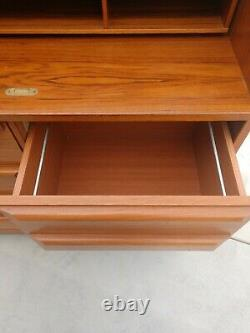 Vintage Denmark Danish Mid Century Modern Eames Teak Roll Top Secretary Desk