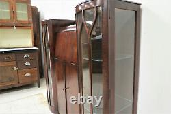 Vintage English Art Deco Dark Oak Secretary Desk With Side by Side Display Cabin