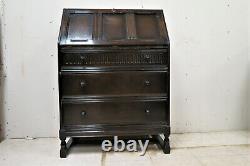 Vintage English Dark Oak Drop Front Secretary Desk