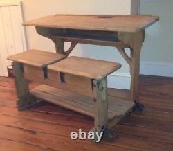 Vintage English PIne Furniture Antique German School Desk Cabinet RARE