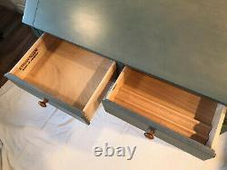 Vintage Ethan Allen Blue Secretary Country Colors Home Office Writing Desk