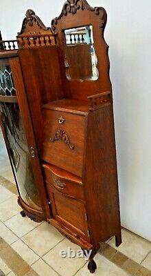 Vintage French Curio Bookcase Secretary China Cabinet two glass shelves Mirrors