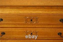 Vintage French Secretary Desk Quartersawn Golden Oak Carved Louis XV St