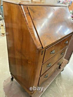 Vintage Harris Lebus Burl Wood Secretary Desk with Original Key LOCAL PICKUP