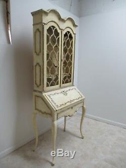 Vintage Italian Regency Paint Distressed Ladies Drop Front Secretary Desk