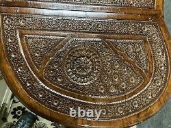 Vintage Kidney Desk Vanity Pakistan Carved Ornate French Secretary Bureau Lady