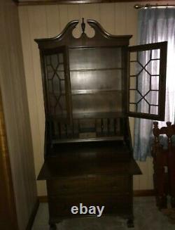 Vintage Mahogany Secretary Desk Bookcase Cabinet