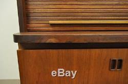 Vintage Mid Century Modern Teak Tambour Roll Top Secretary Desk Danish Style