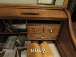 Vintage Oak Craft Roll Top Secretary Desk