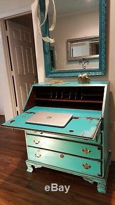 Vintage Oak Drop Front Secretary Writing Desk