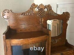 Vintage Oak Side by Side Curio Cabinet with Secretary Desk and Mirror