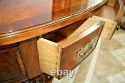 Vintage Oval Desk Stunning Burl Oak Inlays solid hard wood frame dove tail joint