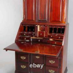 Vintage Oversized Carved Mahogany Chippendale Style Secretary Desk, 20th Century